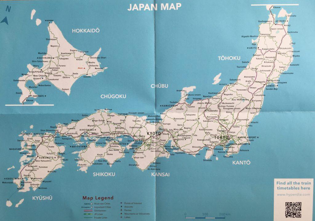 Das Fernbahnnetz in Japan